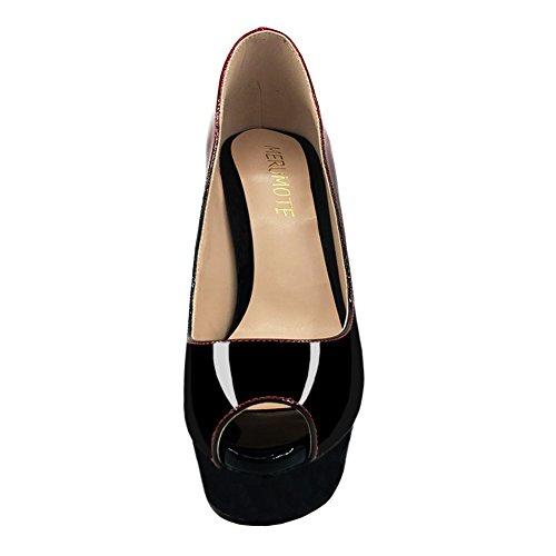 Merumote Delle Donne Scarpe Piattaforma Tacchi Alti Peep Toe Pompe Di Gradiente Festa Di Nozze Vestito Nero Rosso