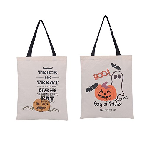2 Pcs Halloween Style Canvas Tote Bag,LoveQmall--Natural Material Cotton Portable Eco Bag Trick or Treat Candy Bags for Kids Presents(Small Pumpkin + (Owl Halloween Treat Bags)
