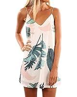 Shawhuwa Womens Sexy Print Summer Beach Boho Straps Short Dress M Light Tropical Palm