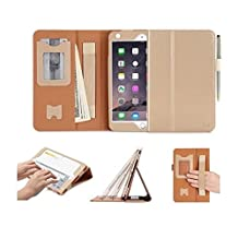 iPad Mini 4 Case Cover, FYY [Luxury Gold] Premium Leather Case Stand Cover with Card Slots, Note Holder, Quality Hand Strap and Elastic Strap for iPad Mini 4 Gold (With Auto Wake/Sleep Feature)