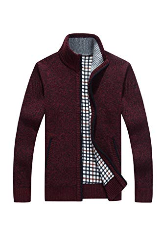 Tricotés Pulls Adjustable Zip Casual Épais Laine Red Full Vepodrau Mens 51UvnR5