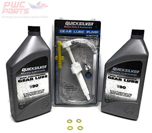 MERCURY TWIN Outboard Inboard I/O ALL Verado Optimax BlackMax Bravo I II III XR Racing High Perfornance Premium Gear Lube Qty. 2 - QUART Lower Unit Oil Change Kit w/ Pump & Gaskets for 2 Engines ()