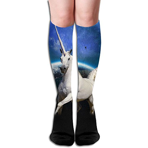 Unicorn And Earth Women Compression Stockings Casual Knee High Socks Sports Long Sock ()