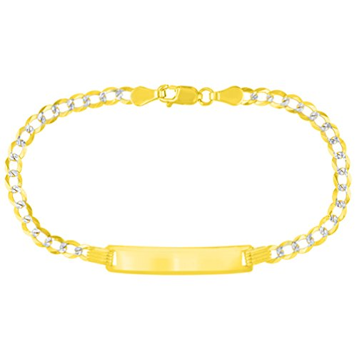 Solid 14K Yellow Gold Two-Tone ID Bracelet with White Pave Cuban Link Chain 3.2mm, ()