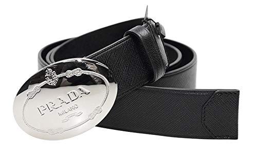 (Prada Black Saffiano Leather Plaque Buckle Belt for Men 2CM046 Size: 100/40)
