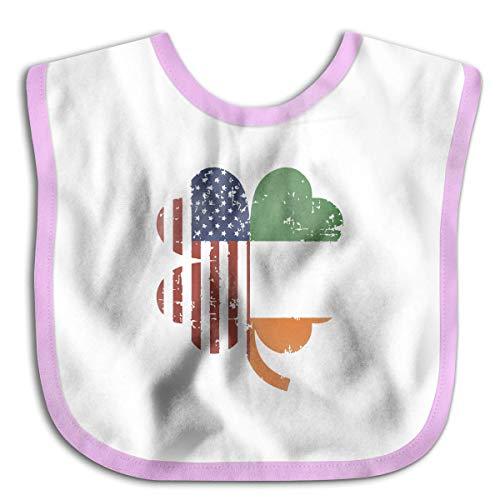 Designer Baby Bandana Drool Bibs, Girls Burp Cloths for Drooling and Teething (American And Ireland Flag In Irish Shamrock Pink)
