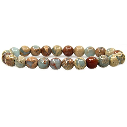 Natural Serpentine Gemstone 8mm Round Beads Stretch Bracelet 7