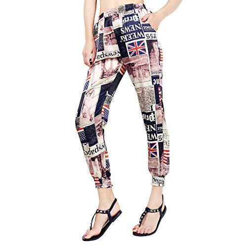 SMALLE◕‿◕ 2019 Women Harem Pants,Retro Newspaper National Flag Print Trousers with Loose Wide-Leg Pants Black -