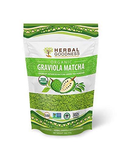 Graviola Matcha - Soursop Powder & Ceremonial Japanese Matcha Green Tea Powder - Organic Non gmo - Antioxidant Vegan Energy - Fiber - Immunity - 4oz Pouch - Made in USA by Herbal Goodness (Best Green Tea Brand In Usa)