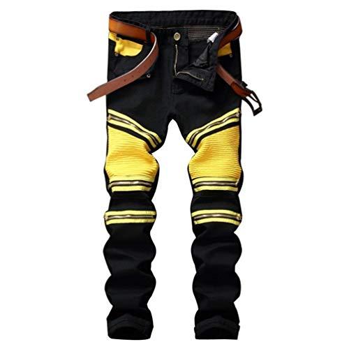 Colori Pieghe Dritta Da Pieghettate Huixin Blackgelb Elasticizzati Pantaloni Jeans A Misti Uomo Gamba Casual Skinny qxYq1wR