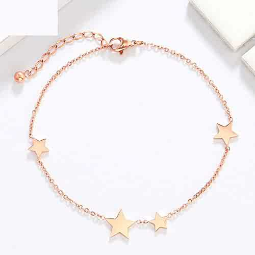 8a6f9f7063 Fashion Style Minimalist 18k Rose Gold Steel Does not Fade Allergy Color  Foot Chain Anklet Ankle