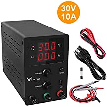 DC Power Supply Variable, Adjustable 30V 10A Switching DC Regulated Power Supply with 3 Digit LED Display Reverse Polarity/High Temperature Protection 110V/100CM Alligator Leads Included