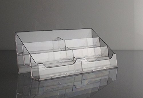T'z Tagz Brand Clear Acrylic 6 Pocket Countertop Business Card Holder