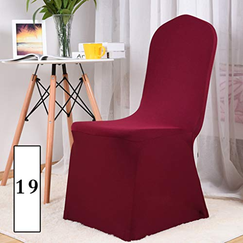 - Anti-Dust Solid Color Chair Covers Big Elastic Seat Stretch King Back High Slipcovers for Banquet Hotel