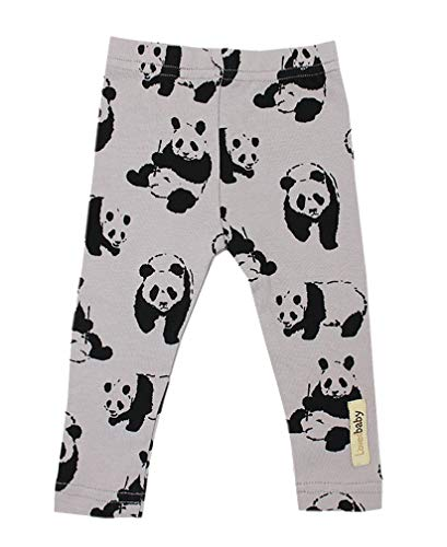 L'ovedbaby Unisex-Baby Organic Cotton Leggings (3-6 Months, Light Gray Panda)