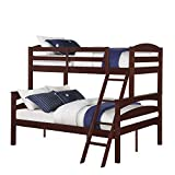 Dorel Living Brady Solid Wood Bunk Beds Twin Over Full with Ladder and Guard Rail, Espresso