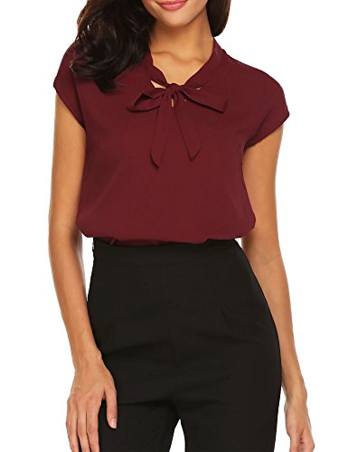 ACEVOG Womens Bow Tie Neck Cap Sleeve Casual Work Chiffon Blouse Tops, Wine Red-cap Sleeve, XX-Large