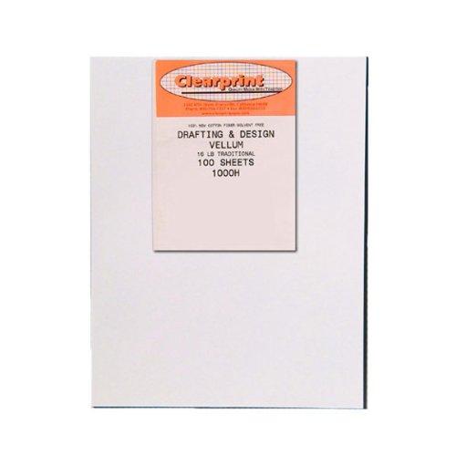 Clearprint 1000H Design Vellum Sheets, 16 lb., 100% Cotton, 24 x 36 Inches, 100 Sheets Per Pack, Translucent White, 1 Each (10201528)