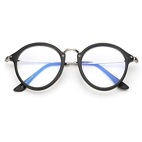 Marco Negro Redondas Moda Computadora Filtro Anti azul Gafas Anti Xinvision Lente Claro de Brillante Fatiga radiación luz Mujer Hombre ZCdqqxTw6