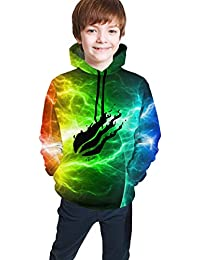 Teen Pullover Hoodies with Pocket Abstract Red Circles Lines Soft Fleece Hooded Sweatshirt for Youth Teens Kids Boys Girls