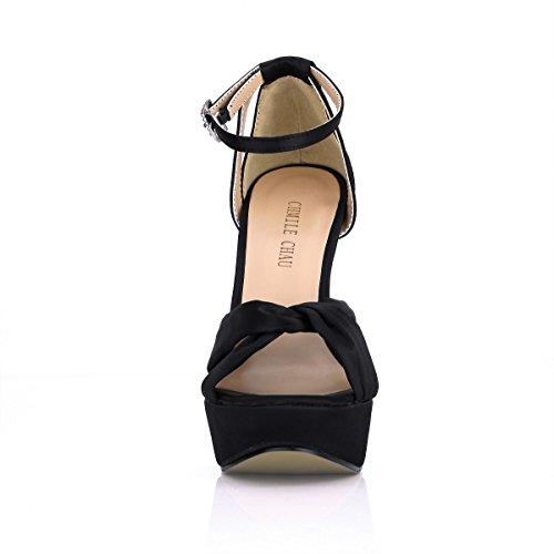 Alto Spillo nuziale Donna Da cinturino sandali Chau satin partito piattaforma A scarpe Alla sposa Caviglia moda Nero Tacco eleganti 3cm Chmile wz1Y8qz