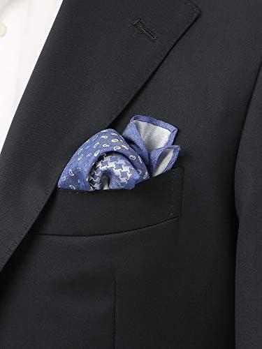 (ザ・スーツカンパニー) 4面パネル シルク×レーヨンポケットチーフ ブルー