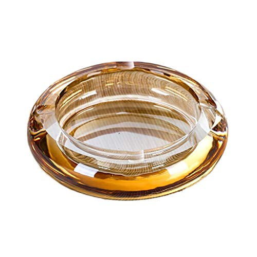 Desktop Ashtray Creative Fashion Crystal Glass Ashtray Living Room Room Hotel Bedroom Ash Trays Decorative Ornaments Gift Portable Ashtrays for Home Office Decoration (Color : Amber, Size : -