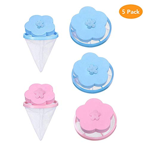 Fiaya Washer Filter Bag Home Floating Lint Hair Catcher Mesh Pouch Washing Machine Laundry (5PC-Blue Pink) - Dog Nylon Balls