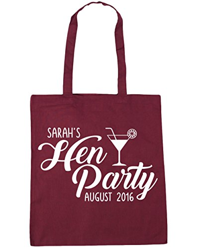 HippoWarehouse Name Burgundy Date litres Your Party Gym Bag x38cm Hen Beach Tote and 42cm PERSONALISED 10 Shopping rFqaIr