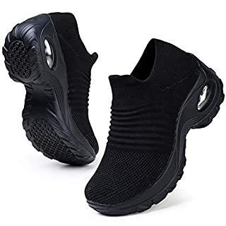HKR Womens Walking Shoes Slip On Light Weight Mesh Platform Nursing Shoes Air Cushion Sneakers All Black 8.5(ZJW1839quanhei40.5)