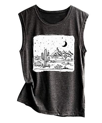 Desert Starry Night Shirt Womens Cactus Shirt Tank top Shirt Muscle Tank Top (Gray, S)
