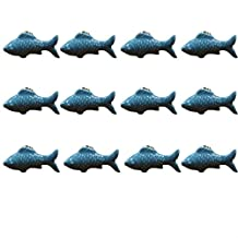 IdealDecor 12PCS Blue Cute Fish Shape Ceramic Knobs, Candy Color Baby Kid's Children's Furniture Handles Pulls For Door Cabinet Drawer Cupboard Dresser Bin Chest Bookcase etc with Screws