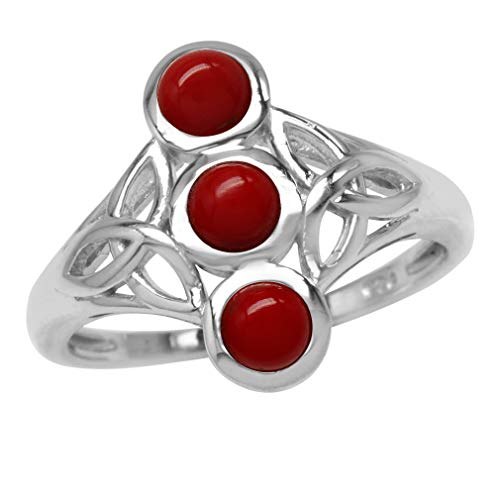3-Stone 4MM Round Shape Created Red Coral 925 Sterling Silver Triquetra Celtic Knot Ring Size 7 ()