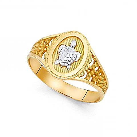 Turtle Ring 14k Yellow & White Gold Tortoise Band Polished Diamond Cut Solid Two Tone 12MM Size 9 - Gold Polished Turtle
