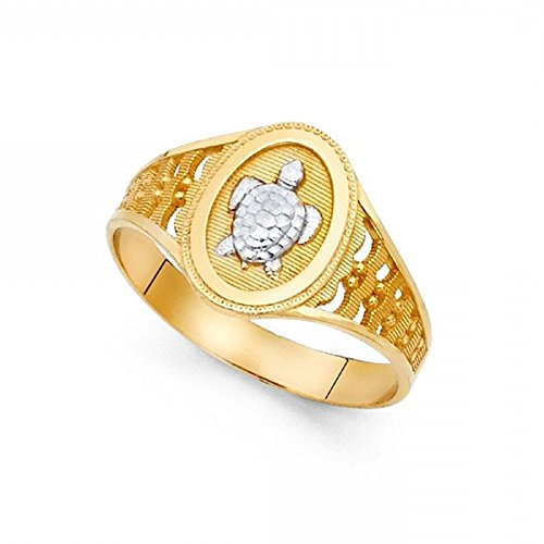 (Turtle Ring 14k Yellow & White Gold Tortoise Band Polished Diamond Cut Solid Two Tone 12MM Size 7)