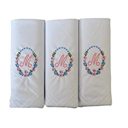3 Pack Of Womens/Ladies Embroidered Initials Handkerchiefs With White Satin Border, M