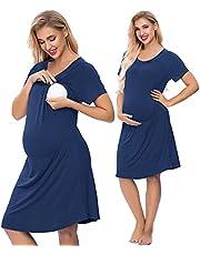 SWOMOG Women's Maternity Sleepwear Nursing Nightgown Labor Hospital Gown Short Sleeve Breastfeeding Lounge Dress