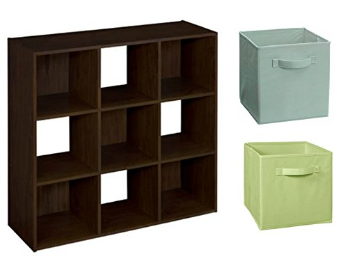 ClosetMaid Cubeicals 9-Cube Organizer in Espresso with ClosetMaid Fabric Drawer, 2 Pieces in Pistachio and 2 Pieces Seafoam Green