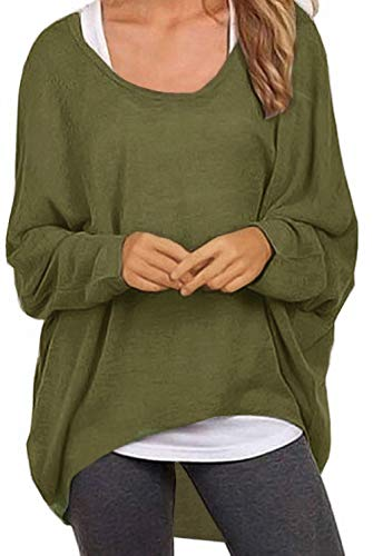UGET Women's Sweater Casual Oversized Baggy Off-Shoulder Shirts Batwing Sleeve Pullover Shirts Tops Asia M Army Green
