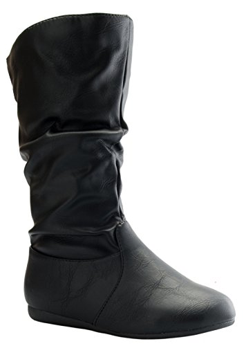 Slouch Riding Boots - Link Girl's Mid-Calf Solid Color Flat Heel Slouch Boots
