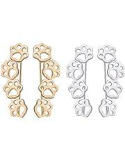 2pairs/set Cat Dog Paw Footprint Climber Earrings Ear Cuff Crawlers Clip On Pin for Girl Women Teen Cute Pet minimalist Hypoallergenic Jewelry