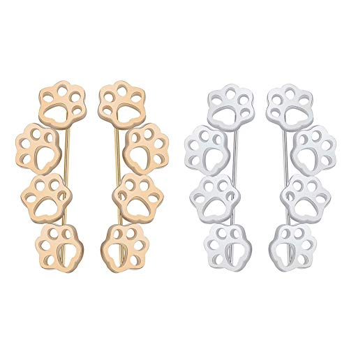Cat Dog Paw Footprint Climber Earrings Ear Cuff Crawlers Clip On Pin for Girl Women Teen Cute Pet minimalist Hypoallergenic Jewelry-gold and silver (Gold Cat Earring Cuff)