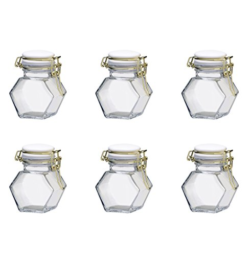 4 Clipper Ounce (Amici Home, 7CN533S6R, Sophie Spice Jar, Hermetic Preserving Glass Canister, Gold Clippers, White Ceramic Lid, Food Safe, 4 Ounces, Set of 6)