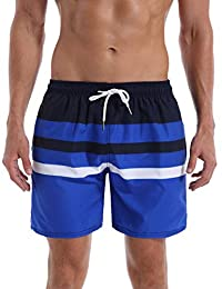 QRANSS Men's Stripe Swim Trunks Beach Swim Shorts
