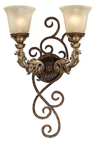 Regency 2 Light LED Wall Sconce in Burnt Bronze and Gold Leaf (Gold Leaf Burnt Sconce)