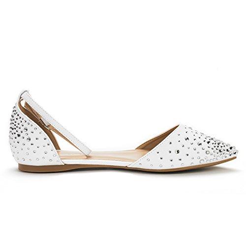 DREAM PAIRS Damen FLAPOINTED-New D'Orsay Ballerinas Schuhe Glanz-weiß