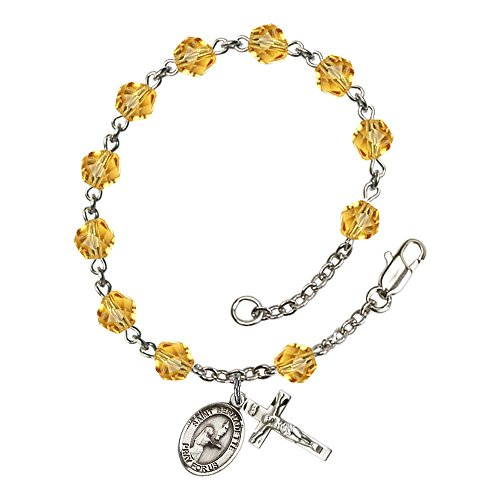 St. Bernadette Silver Plate Rosary Bracelet 6mm November Yellow Fire Polished Beads Crucifix Size 5/8 x 1/4 Medal Charm