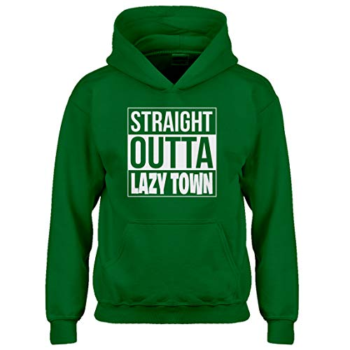 Indica Plateau Kids Hoodie Straight Outta Lazy Town Large Kelly Green Hoodie