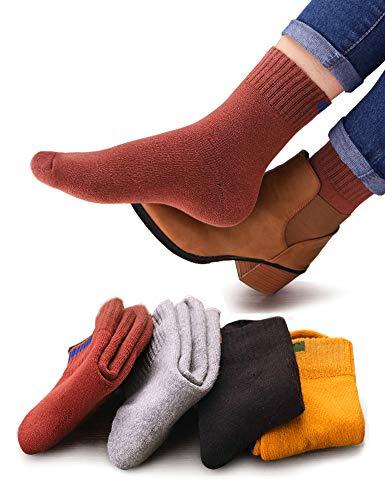 VERO MONTE 4 Pairs Womens Cotton Crew Socks Thick Warm Socks For Women (4045)