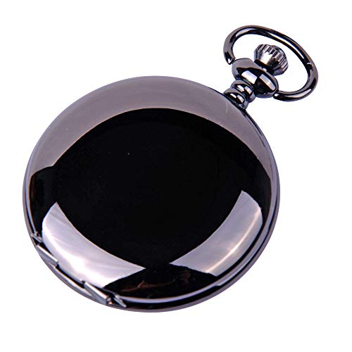 (ShoppeWatch Pocket Watch Quartz Movement Black Case White Dial Arabic Numeral with Chain Full Hunter PW23)